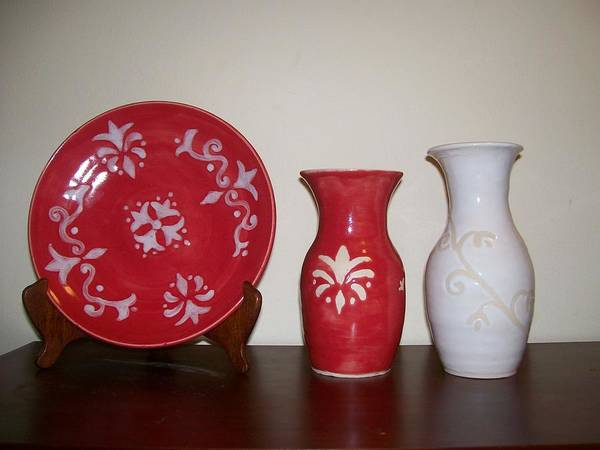 Red Art Print featuring the ceramic art Red And White by Monika Hood
