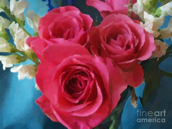 Art Print featuring the digital art Roses In January by Denise Dempsey Kane