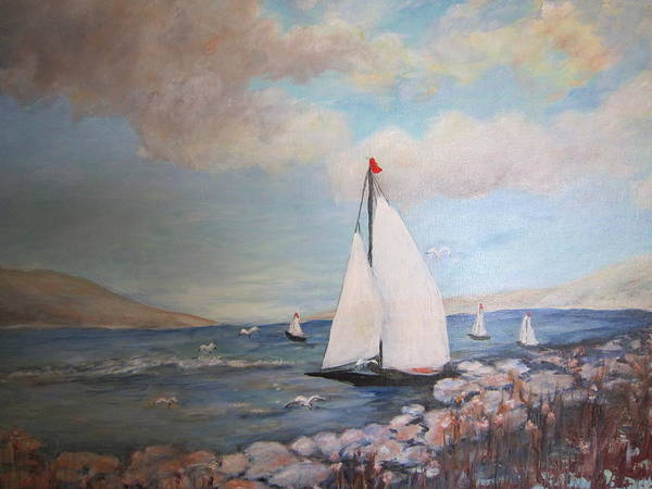 Art Print featuring the painting Sailboating In The Carribean by JoAnn Albright
