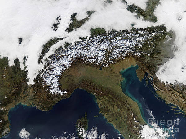 Color Image Print featuring the photograph Satellite View Of The Alps by Stocktrek Images