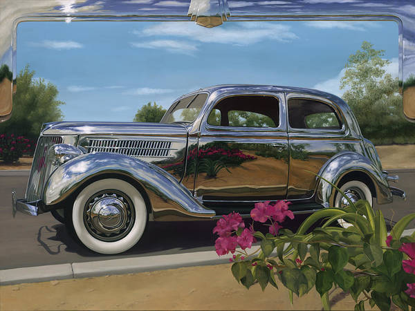 1936 Ford Art Print featuring the painting Silver Dream by Lucretia Torva