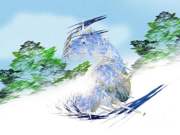 Fractal Art Art Print featuring the digital art Ski Sledding Blue Polar Bear by Andee Design