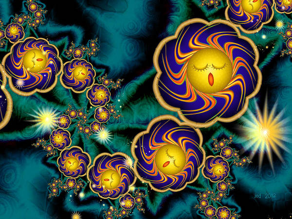 Digital Art Print featuring the digital art Sleepy Whirling Little Suns by Josette Dery