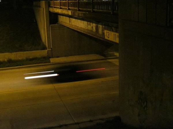 Car Art Print featuring the photograph Speeding Under The Bridge by Guy Ricketts