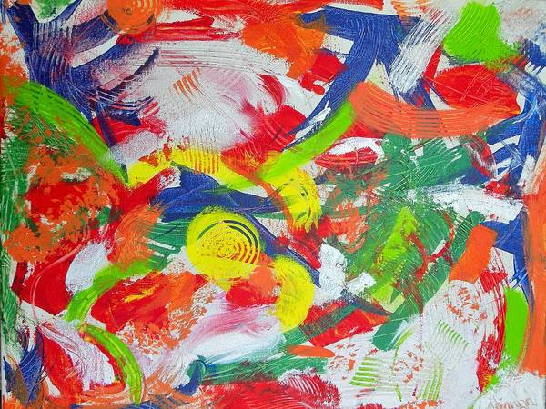 Abstract Art Print featuring the painting Splash Of Lemons by Arianna Stone