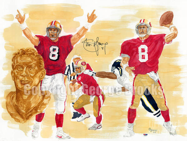 Steve Young Art Print featuring the painting Steve Young - Hall Of Fame by George Brooks