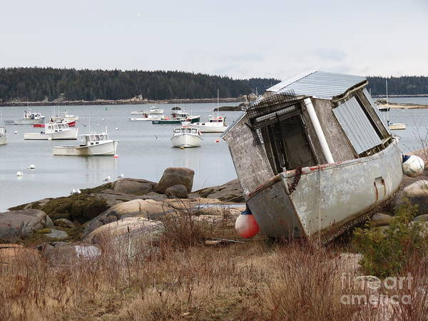 Boats Art Print featuring the photograph Stonington Harbor by Sarah Burrin