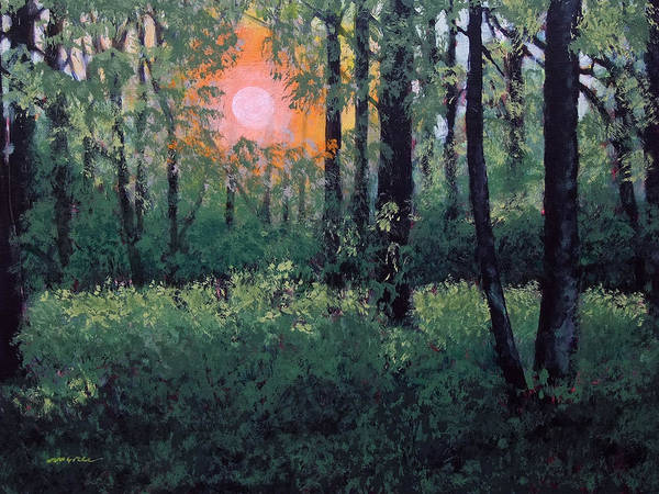 Landscape Art Print featuring the painting Summer Sunset by Leo McRee