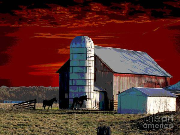Sundown On The Farm Art Print featuring the digital art Sundown On The Farm by Jimi Bush