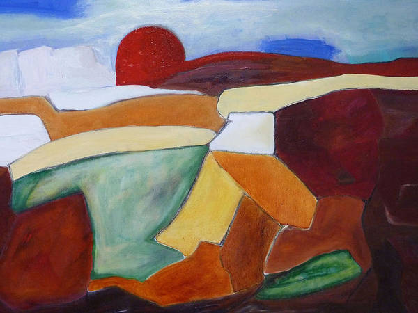 Landscape Art Print featuring the painting Sun's Edge by Ulla Heckel