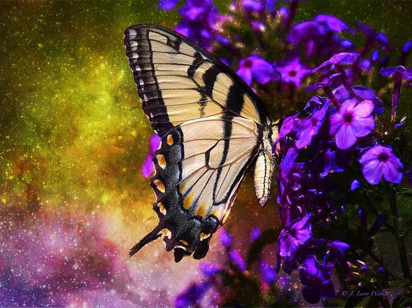 J Larry Walker Art Print featuring the digital art Tiger Swallowtail Feeding In Outer Space by J Larry Walker