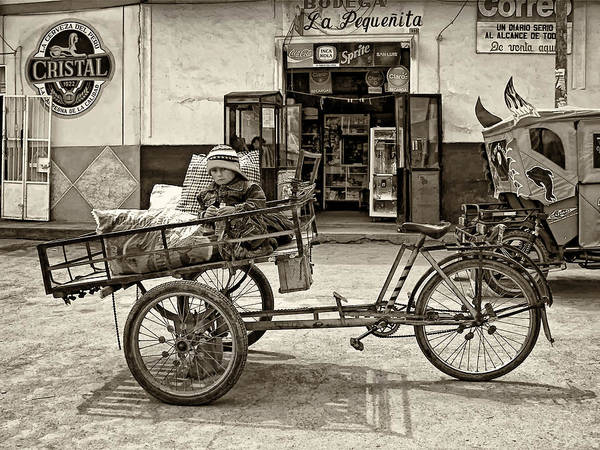Peru Art Print featuring the photograph Tiny Biker Sepia by Steve Harrington