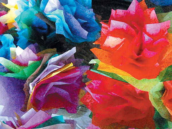 Tissue Paper Flowers One Art Print By Sarah Wright
