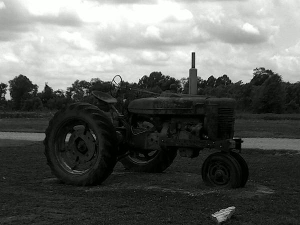 Tractor Art Print featuring the photograph Tractor At The Flats by Linda Merriett