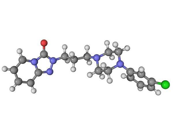 Molecular Art Print featuring the photograph Trazadone Antidepressant Drug Molecule by Laguna Design