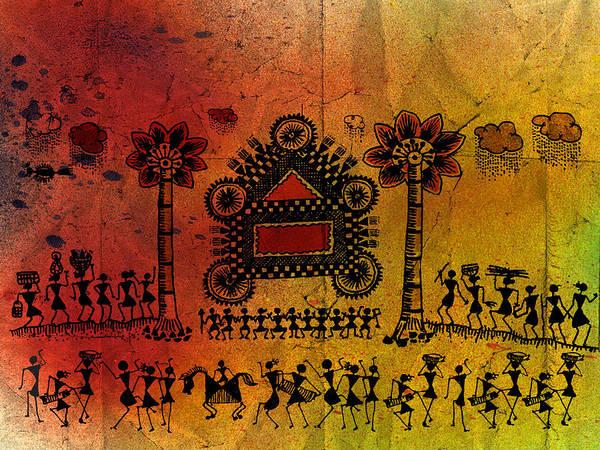 Tribal Art Art Print featuring the painting Tribal Gathering by Subhash Limaye