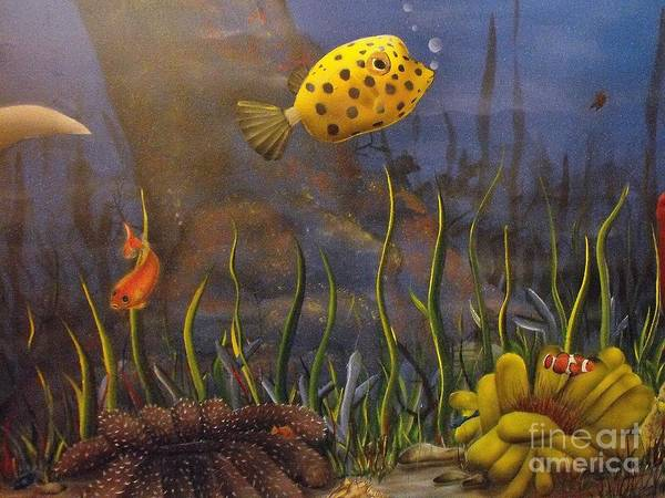 Tropical Fish Art Print featuring the painting Trunkfish And Anemone Fish by Sandy Hurst