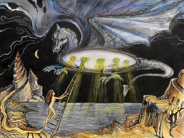 Ufo Art Print featuring the painting U F O by Valentina Plishchina