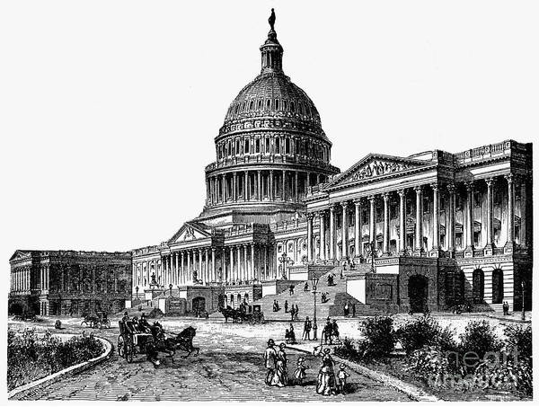 1884 Art Print featuring the photograph U.s. Capitol, 1884 by Granger