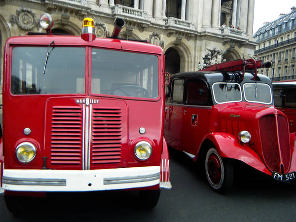 Red And Black Art Print featuring the photograph Vintage Fire Truck Duo by Tony Grider