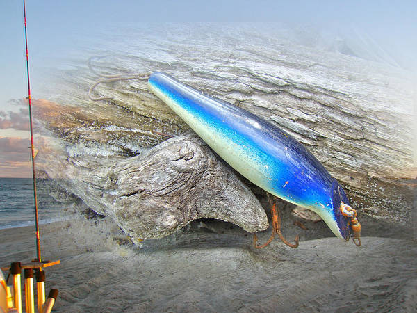 Floyd Roman Print featuring the photograph Vintage Fishing Lure - Floyd Roman Nike Blue And White by Mother Nature