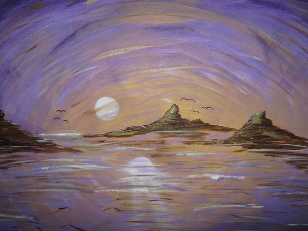 Moon Rise Art Print featuring the painting Virgin Islands by Mark Palmer
