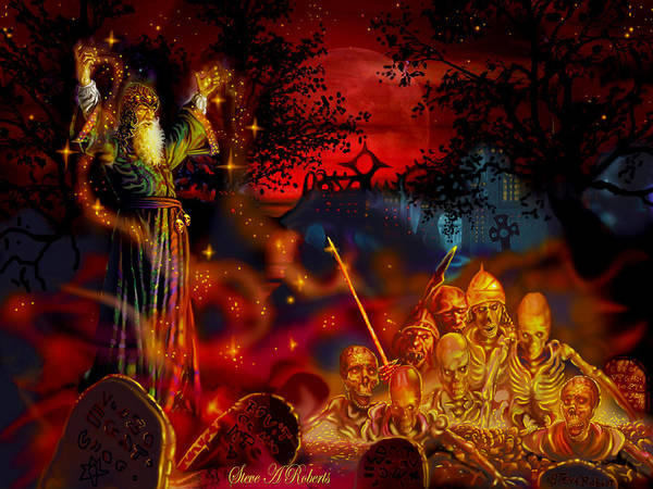 Fantasy Art Print featuring the painting Von The Nacromancer by Steve Roberts