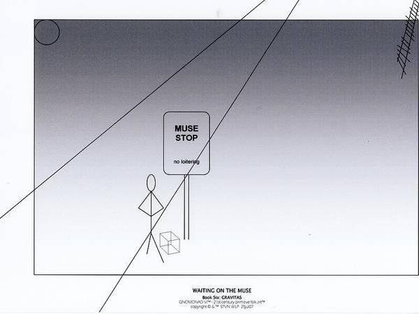 B&w Digital Line Art Art Print featuring the digital art Waiting On The Muse by Steven Welp