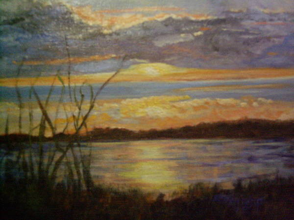 Sunset Art Print featuring the painting Wetland by Marcia Hero