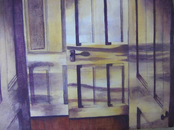 indoor Still Life Art Print featuring the painting When One Door Closes by Patsy Sharpe