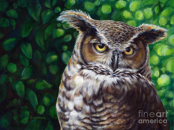 Great Horned Owl Art Print featuring the painting Wisdom Great Horned Owl by Darlene Watters