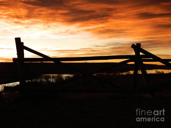 Colorado Art Print featuring the photograph Wood Fence Sunrise by Sara Mayer