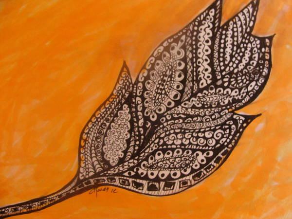 Leaf Leaves Art Print featuring the drawing Zentangle Leaf by Gerri Rowan