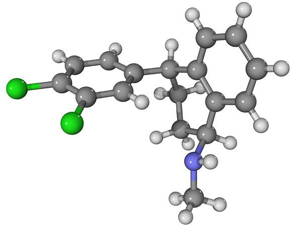 Molecular Art Print featuring the photograph Zoloft Antidepressant Drug Molecule by Laguna Design