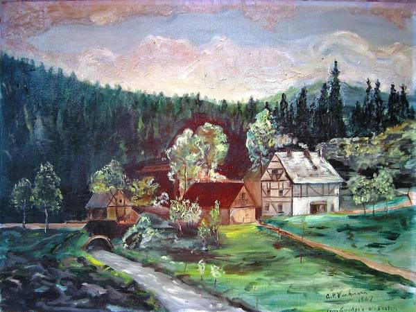 Schwartzwald Jaeger (hunter) Haus Art Print featuring the painting Black Forest Germany by Alfred P Verhoeven