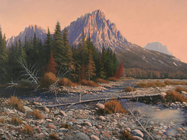 Rocky Mountain Landscape Art Print featuring the painting 080525-1620 Fading Light On Horse Thief Creek by Kenneth Shanika