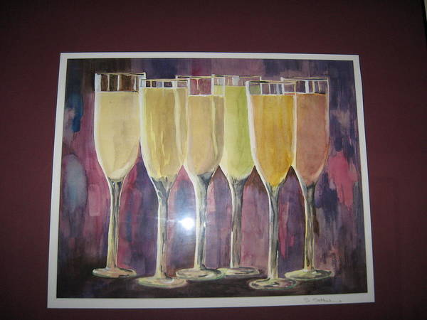 Champagne Art Print featuring the painting After Five by Sheryl Sutherland