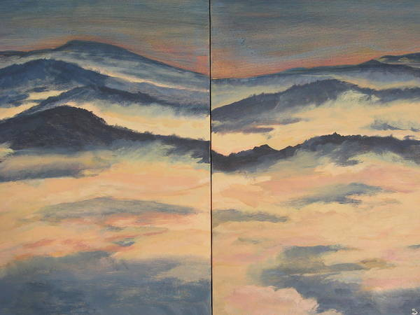Mountain Range On Two Canvasses Art Print featuring the painting Blue Ridge IIi by Sheryl Sutherland