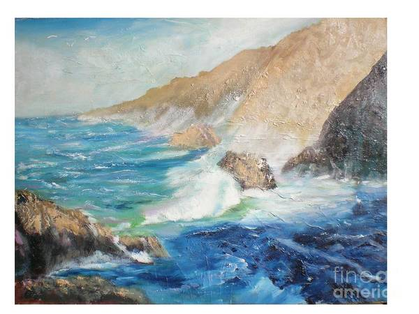 Seascape Art Print featuring the painting California Coast by Hal Newhouser