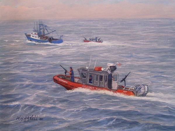 Boats Art Print featuring the painting Coast Guard In Pursuit by William H RaVell III