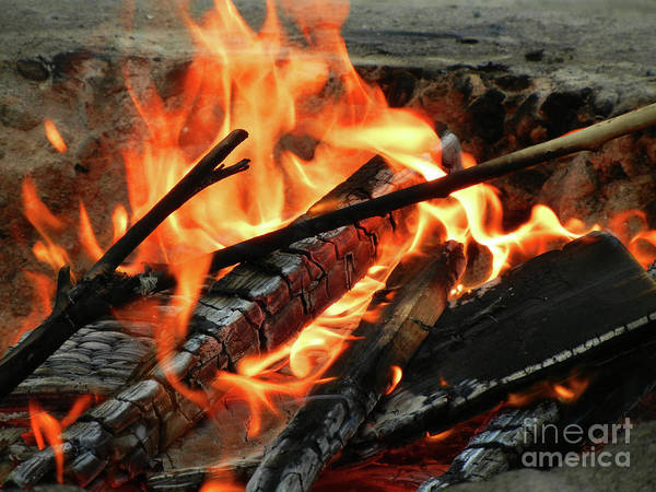 Fire At The Beach Iii Print featuring the photograph Fire At The Beach IIi by Mariola Bitner