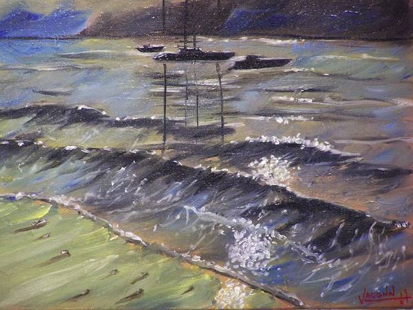 Landscape Art Print featuring the painting Harbor View by Charles Vaughn