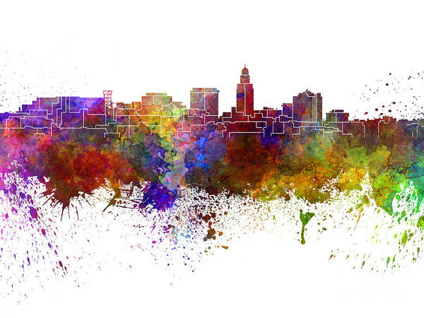 Lincoln Skyline Art Print featuring the painting Lincoln Skyline In Watercolor Background by Pablo Romero
