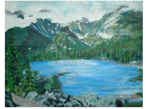 Lake Mountains And Blue Spruce Trees Art Print featuring the painting Little Grand Lake by Hal Newhouser