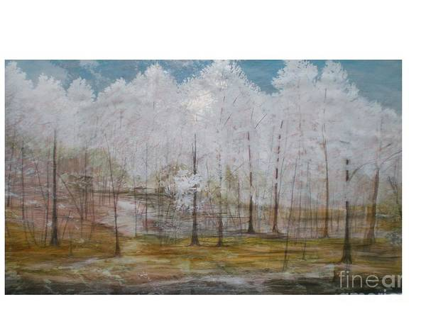Snow At Maggie Valley Art Print featuring the painting Maggie Valley by Hal Newhouser