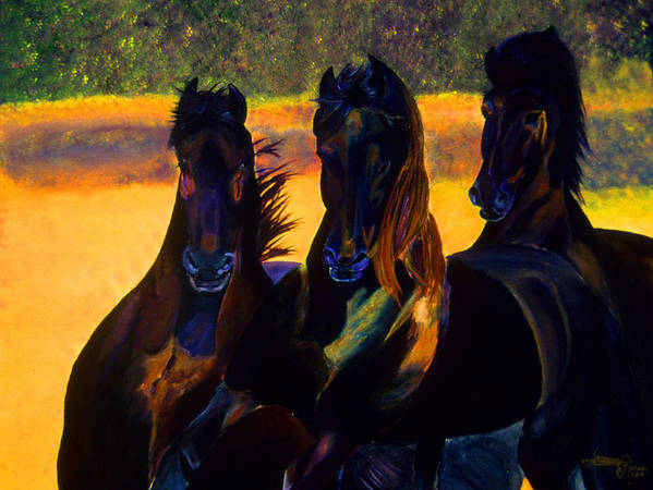 Horses Art Print featuring the painting Neon Friesians by JoeRay Kelley