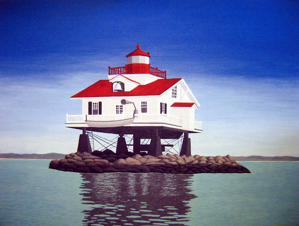 Lighthouse Paintings Art Print featuring the painting Old Plantation Flats Lighthouse by Frederic Kohli