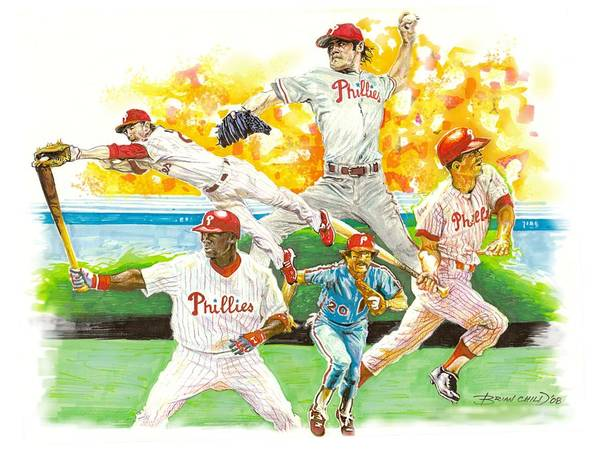 Baseball Art Print featuring the mixed media Phillies Through The Ages by Brian Child