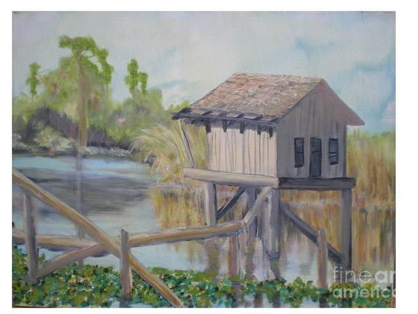 Seascape Art Print featuring the painting Pole House by Hal Newhouser
