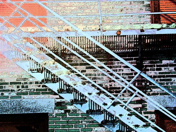 Abstract Art Print featuring the digital art Pueblo Downtown Fire Escape by Lenore Senior